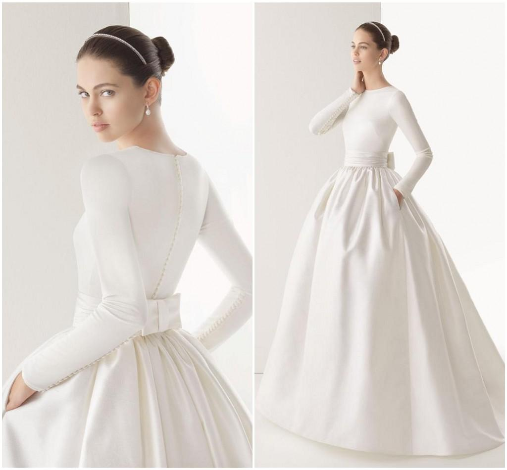 Muslim High Neck Long Sleeve Ball Gown Wedding Dress with