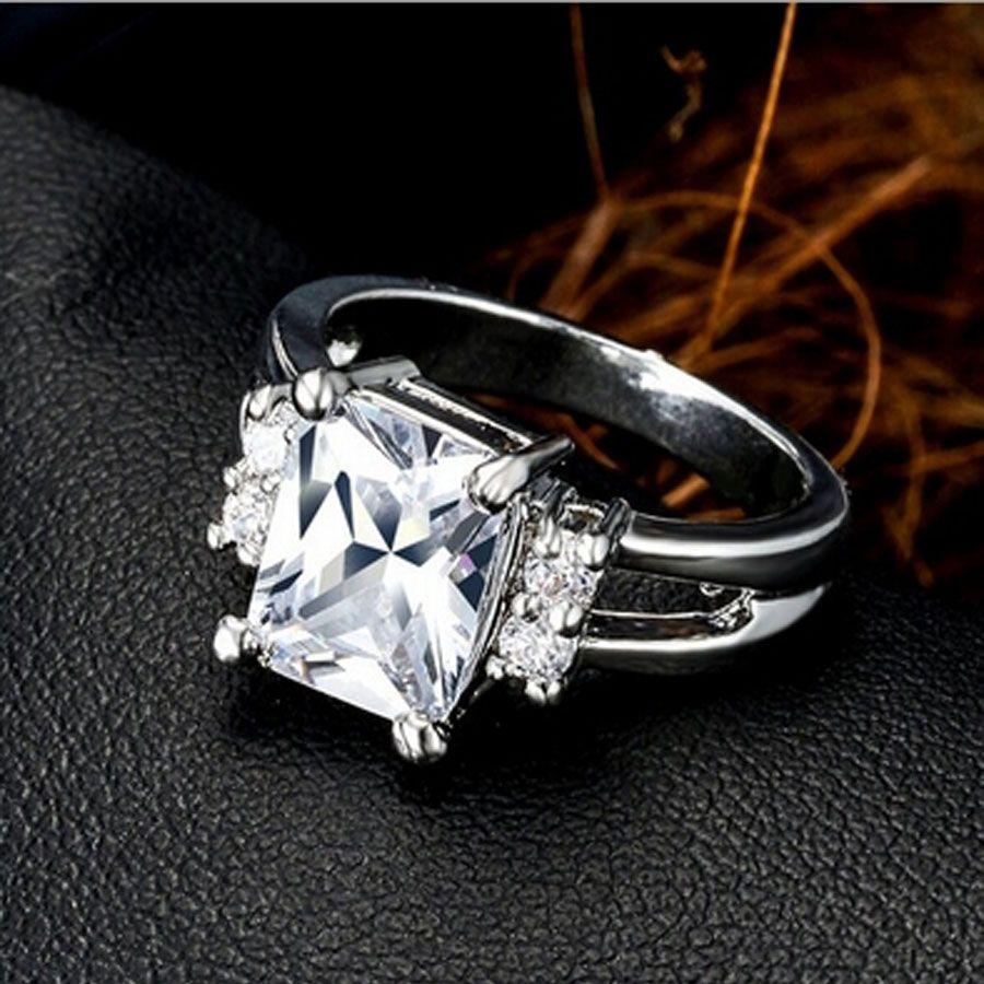 Wholesale Top Zircon Wedding Rings Square Dig Diamond Silver