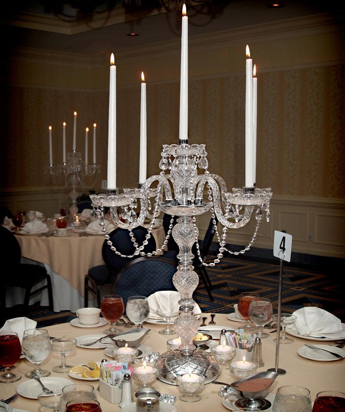 Polish chrome candelabra candelabrum candle holder set for Wedding decorations to make at home