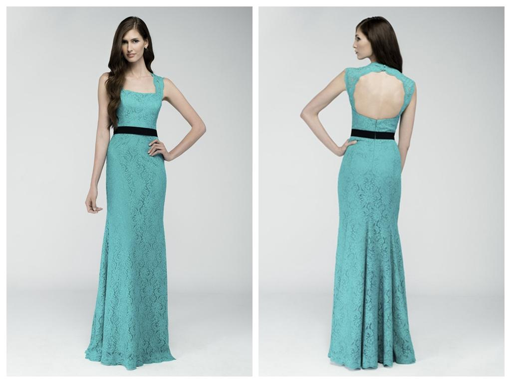 2015 Aqua Bridesmaid Dresses Queen Ann Inspired Neckline