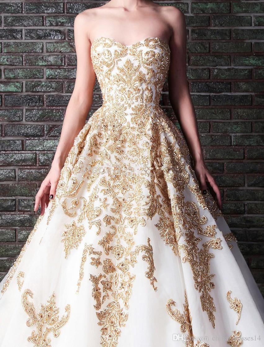 2016 new arrival ball gown white and gold wedding dresses for Rami kadi wedding dresses prices