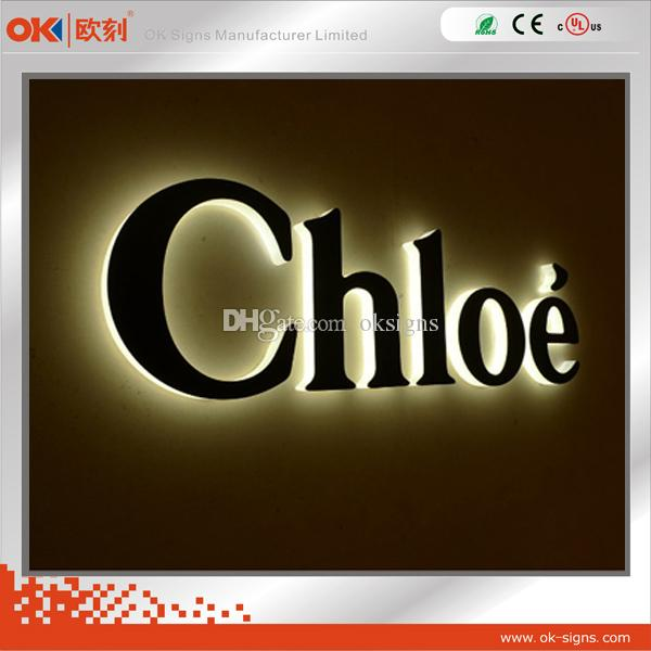 2015 hot sale back light led letter sign black painted face custom brush stainless steel alphabet
