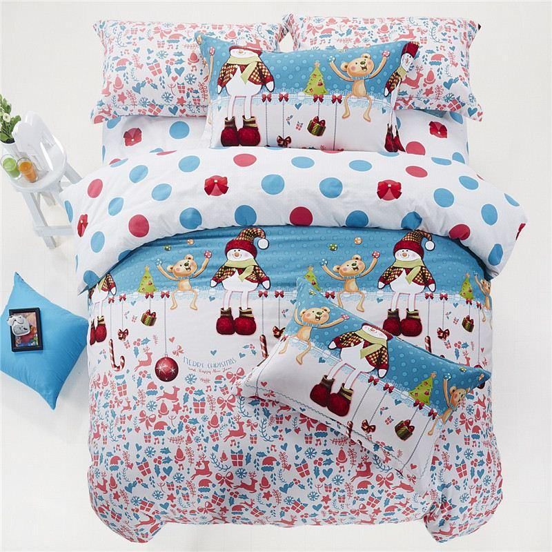 kids christmas bedding set king queen twin size cartoon duvet cover bed sheet bedspread linen cotton children santa claus gift spread bedding supplies