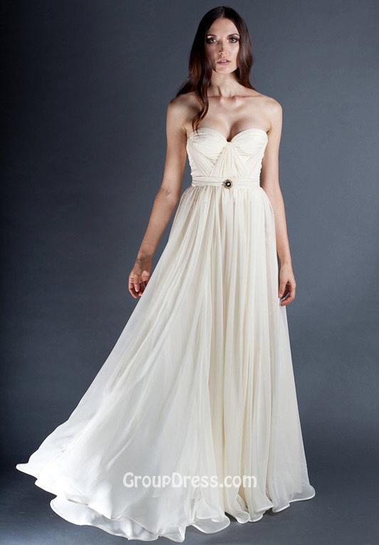 Unique Cream Chiffon Prom Dresses 2015 Strapless Sweetheart Ruched ...