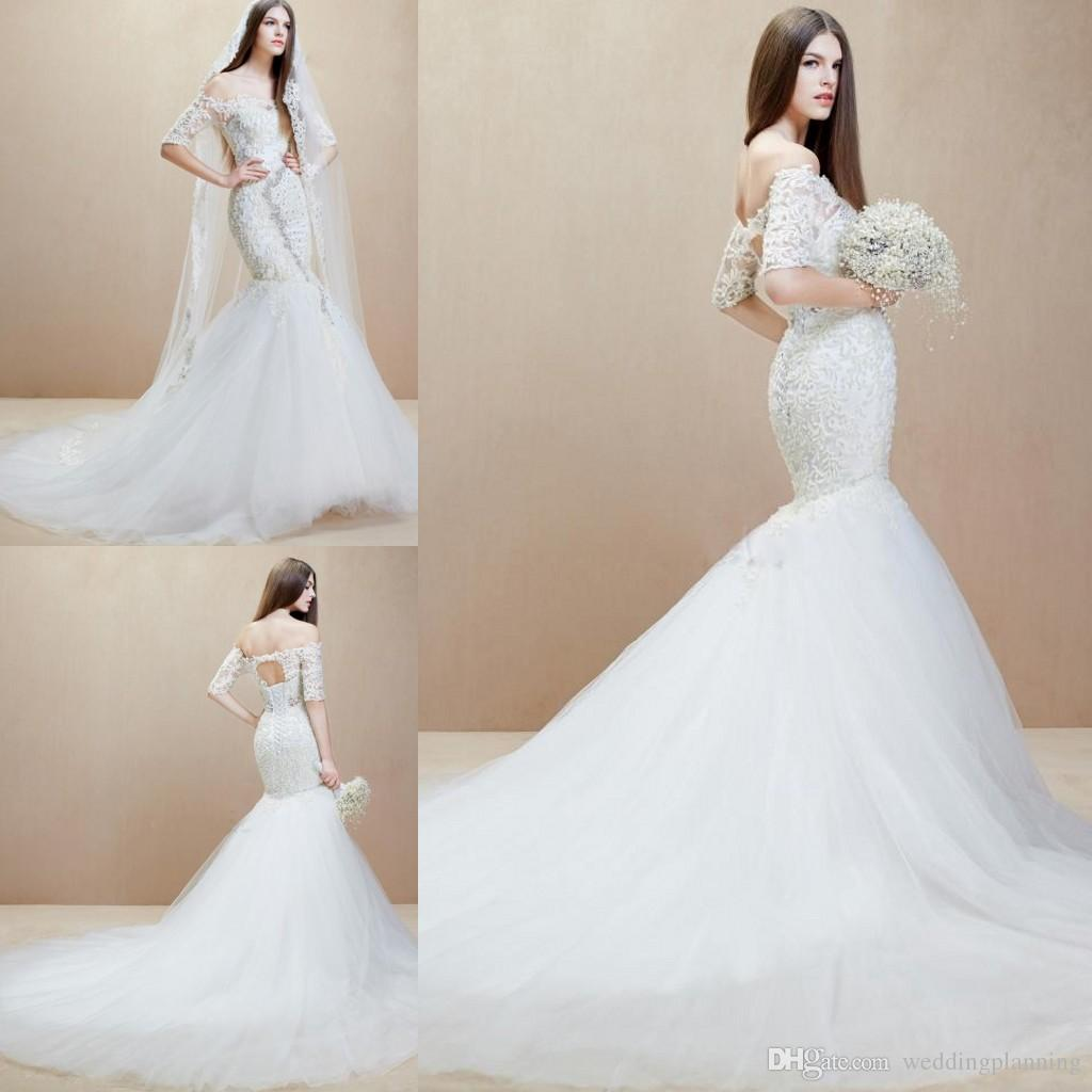 2014 Elie Saab Lace Veil Mermaid Wedding Dress Floor Length Berta ...