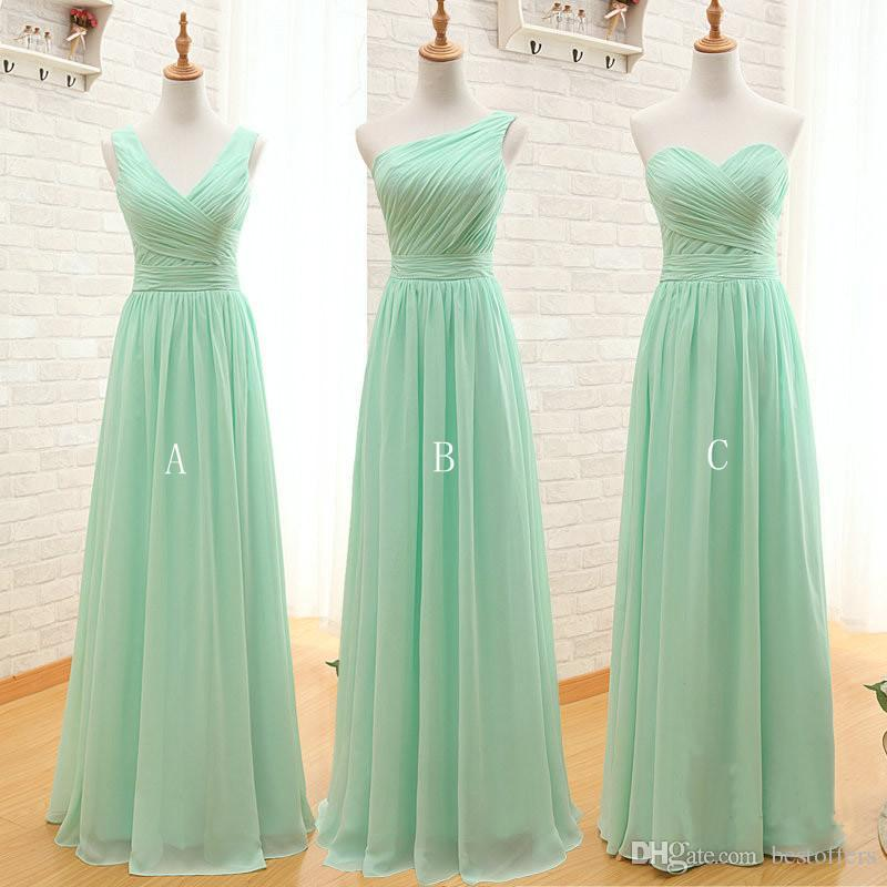Mint Green Cheap Bridesmaid Dresses 2017 Pleated Chiffon A Line ...