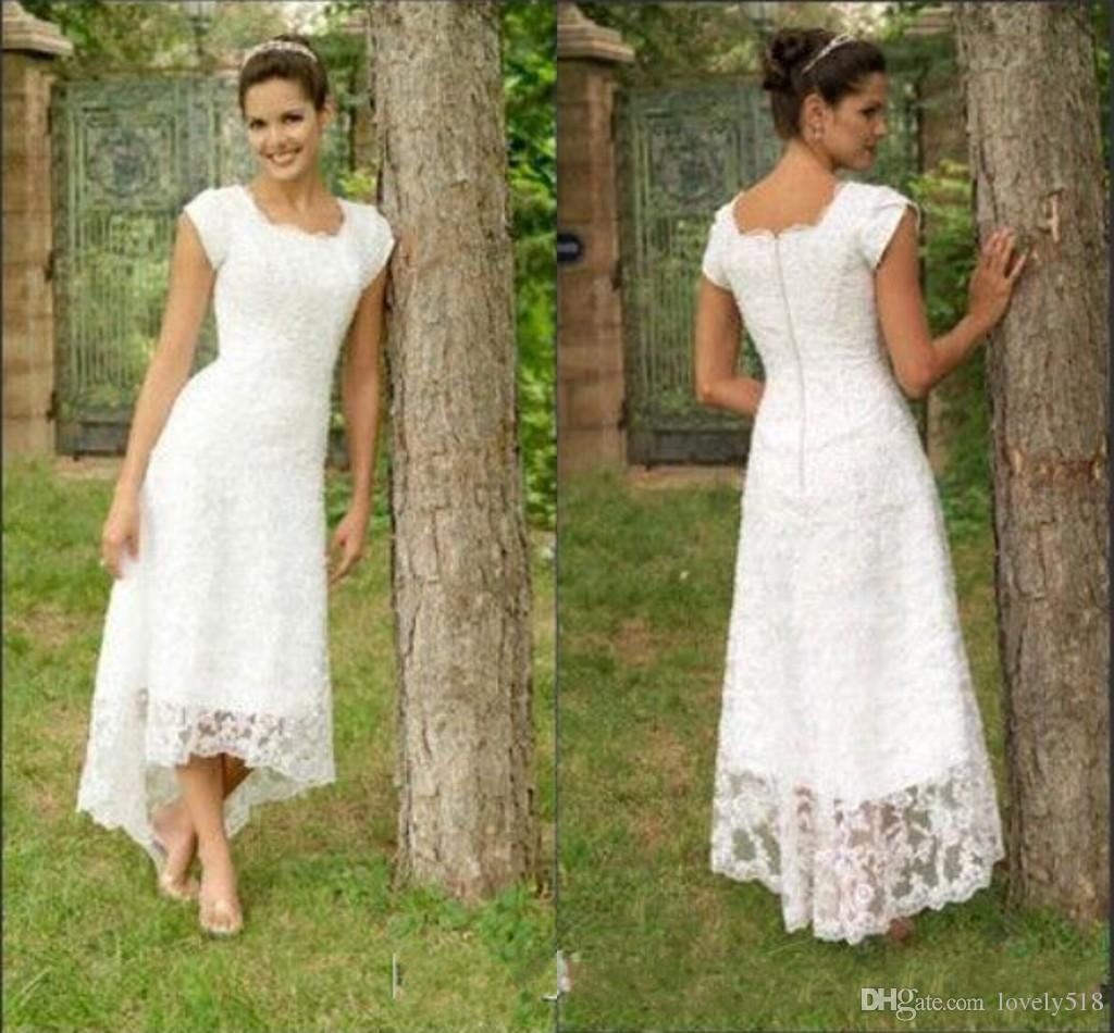 Vintage Short Hi Lo Wedding Dresses Tea Length 2016 Full