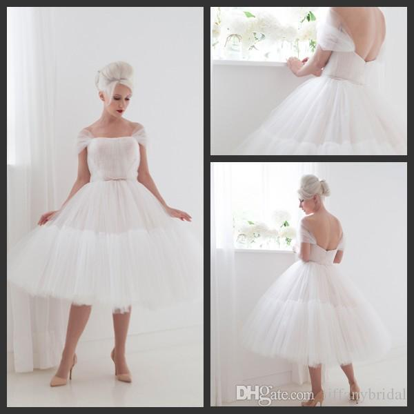 Ballet style tea length short wedding gown pleated cap for Short fluffy wedding dresses