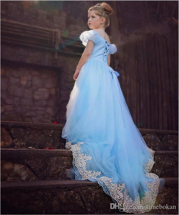 Discount Frozen Princess Girl Dress Wathet Blue Crepe Lace ...