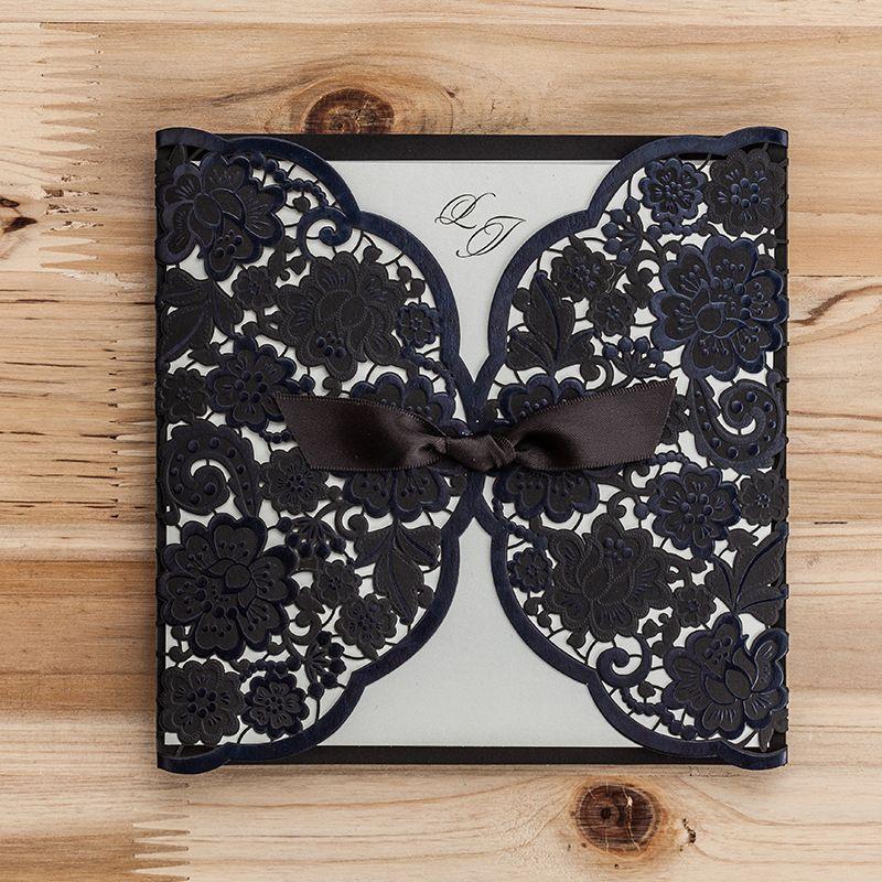 Black Lace Wedding Invitations 2016 Ribbon Laser Cut Bridal – Black Lace Wedding Invitations