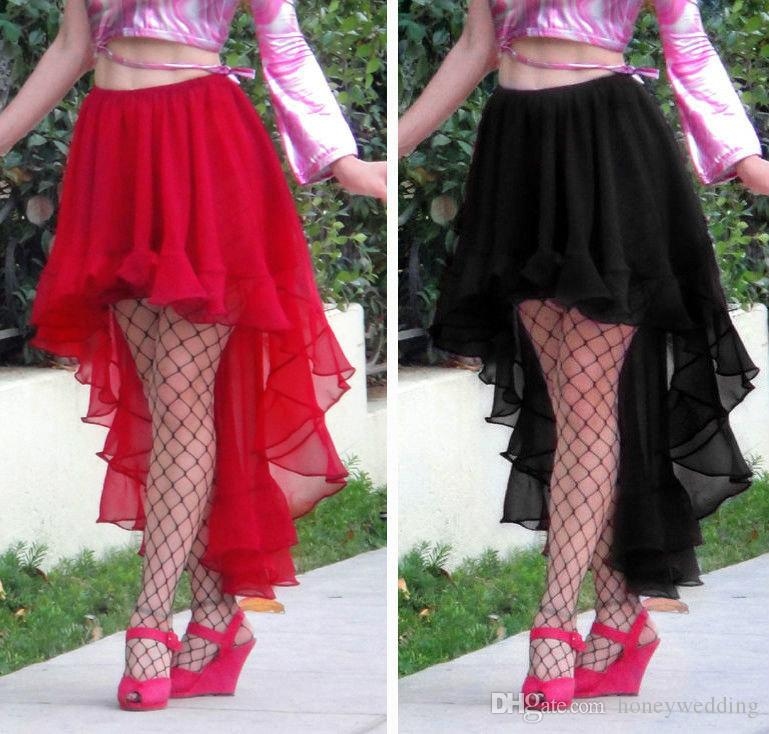 2015 big discount high low skirt with ruffle ruched