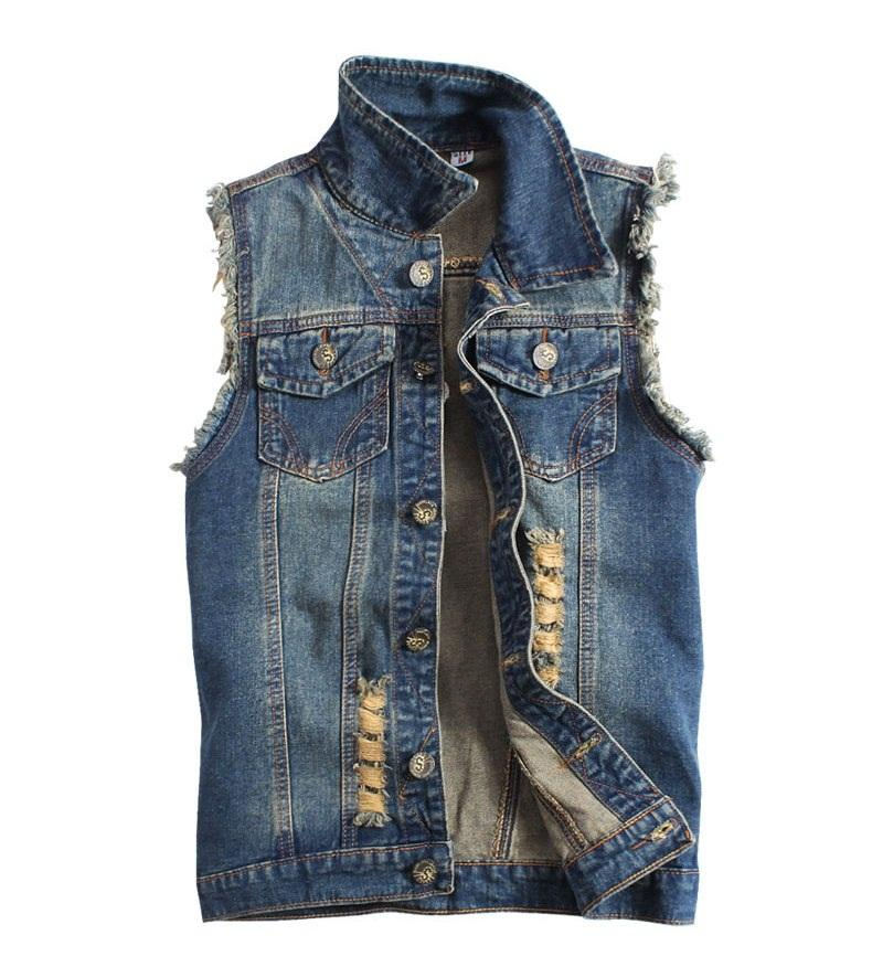 Plus Size M to XXXL Men's Boys Ripped Denim Vest Vintage Style ...