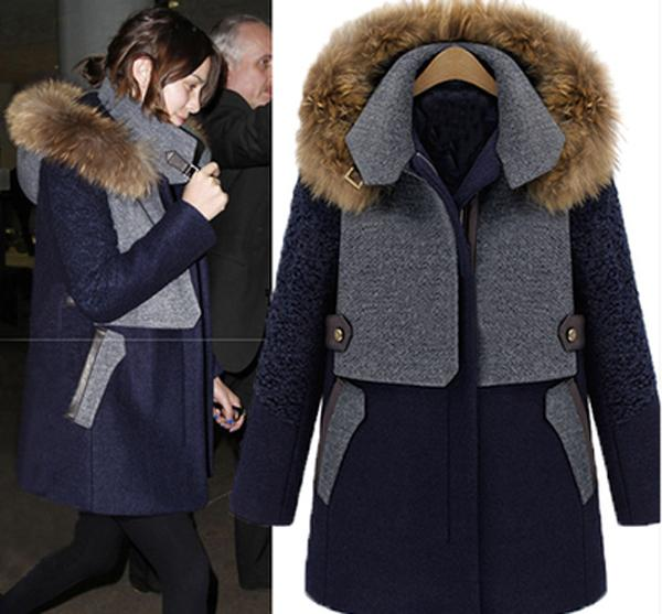 Plus Size Coats Cappotti Donna Navy Blue Coat Womens Shearling ...