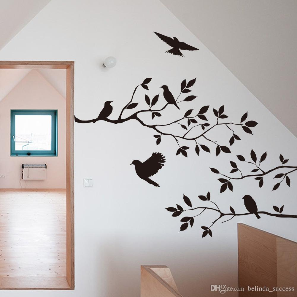 Tree Birds Wall Stickers Home Decor Black Vinyl Removable Wall Stickers  Home Decals For Teen Children