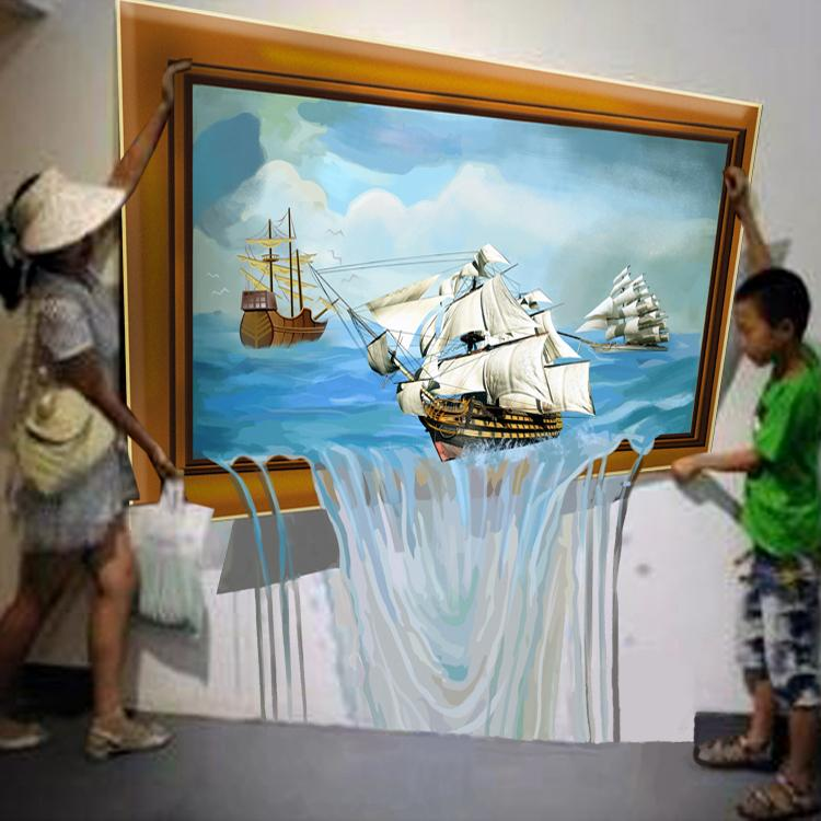 3D Wall Painting - 3D Stereoscopic Illusion Paintings Affixed