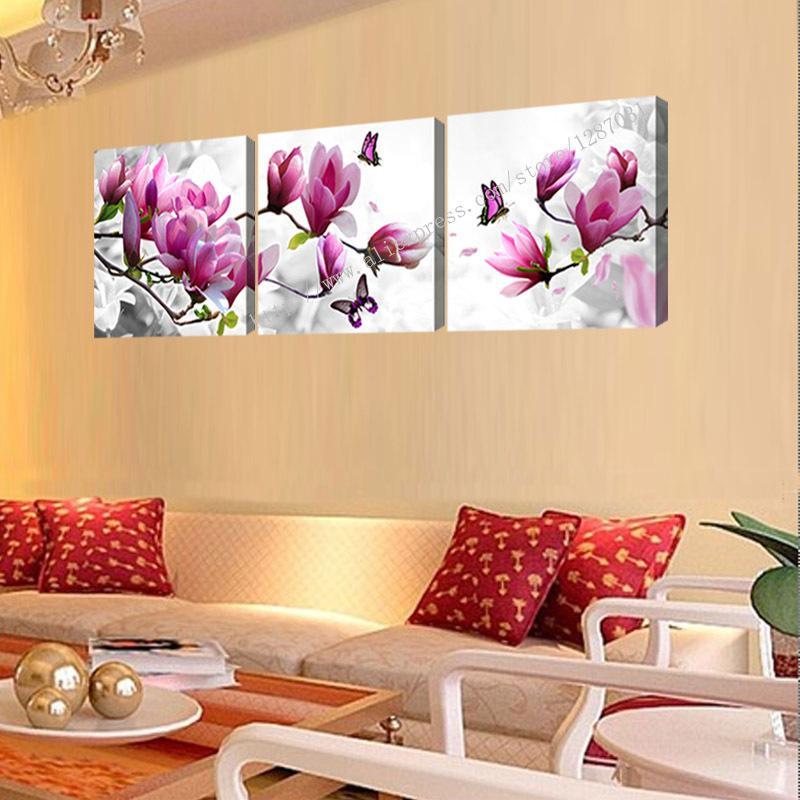 3 Piece Purple Cherry Blossom Muti Panel Abstract Modern: Best Quality Unframed 3 Panels Cheap Abstract Modern Wall