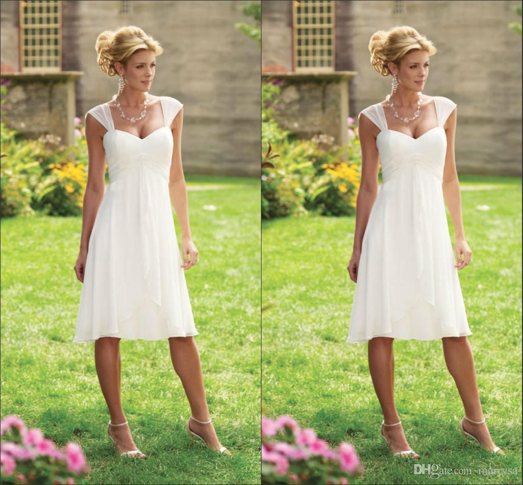 2015 Vestidos De Noiva White Chiffon Knee Length Short