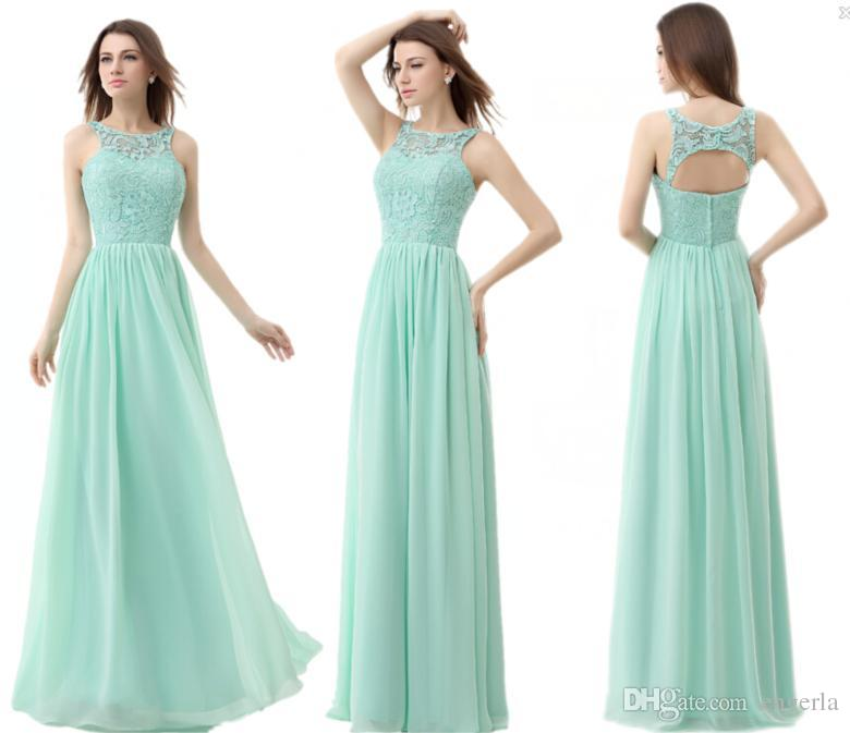 Mint Green Chiffon Cheap Bridesmaid Dresses 2015 Jewel Neck A Line ...