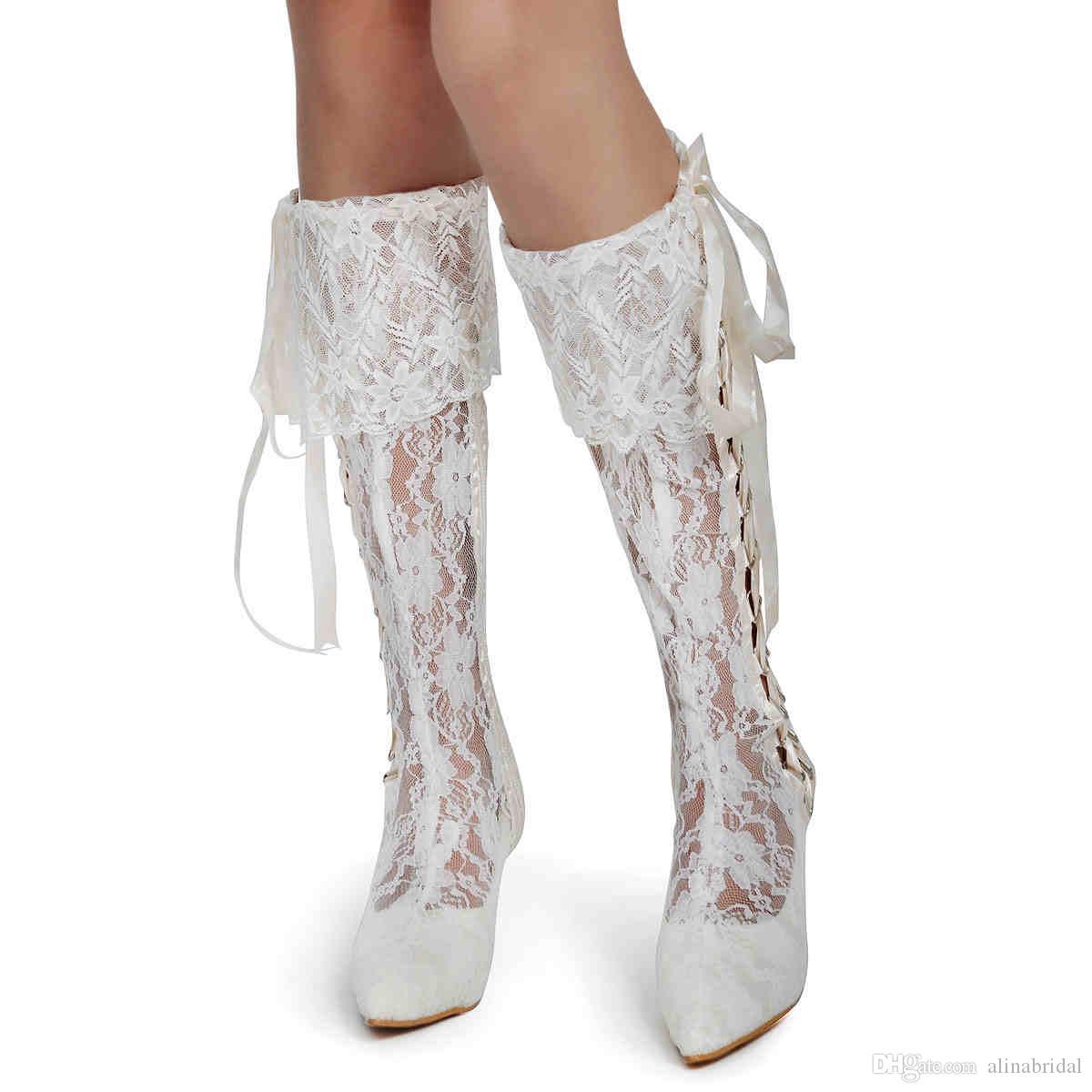 2015 Ботинки Элегантный Vintage Lace Свадебные туфли колен , босоножки, пастушка Свадебные сапоги на заказ
