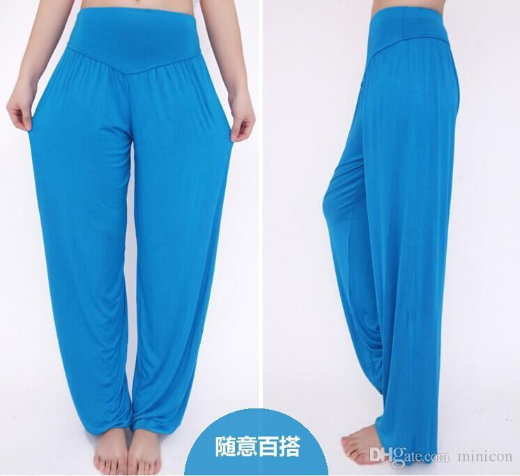 Taille haute stretch femmes Sarouel Sport Yoga Pants Pantalon évasé Dance Club Boho jambe large loose