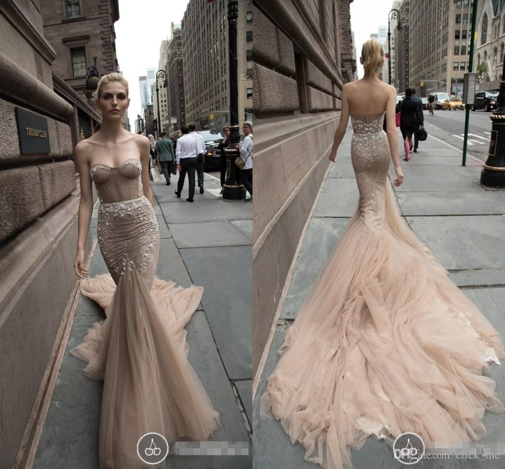 2016 Elie Saab Memaird Wedding Dresses Cheap Appliques Sequins Tulle Sweetheart Party Pageant