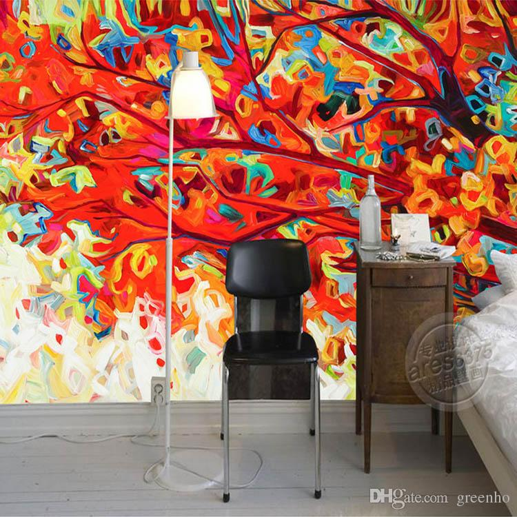 Abstract painting wallpaper colorful trees wall murals 3d for 3d wall murals for kids