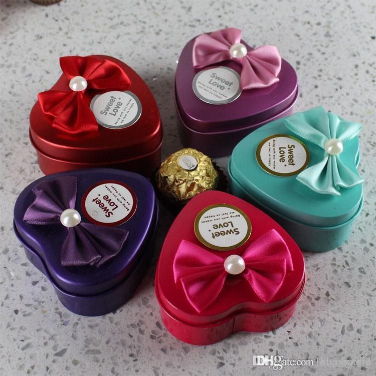Chocolate Heart Shaped Gift Boxes : Wholesale hearts shape metal candy box wedding favor