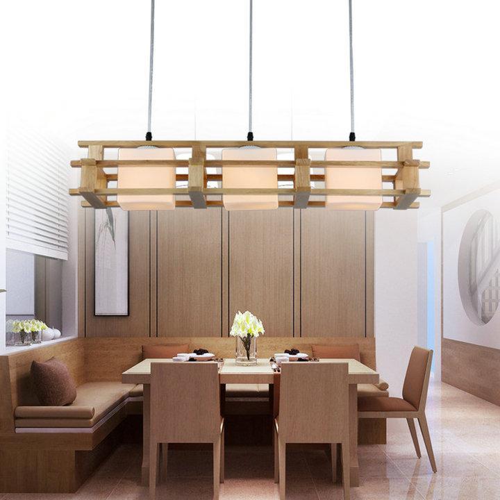 With Led Bulb 3light 1light Wood Pendant Lamp Wood