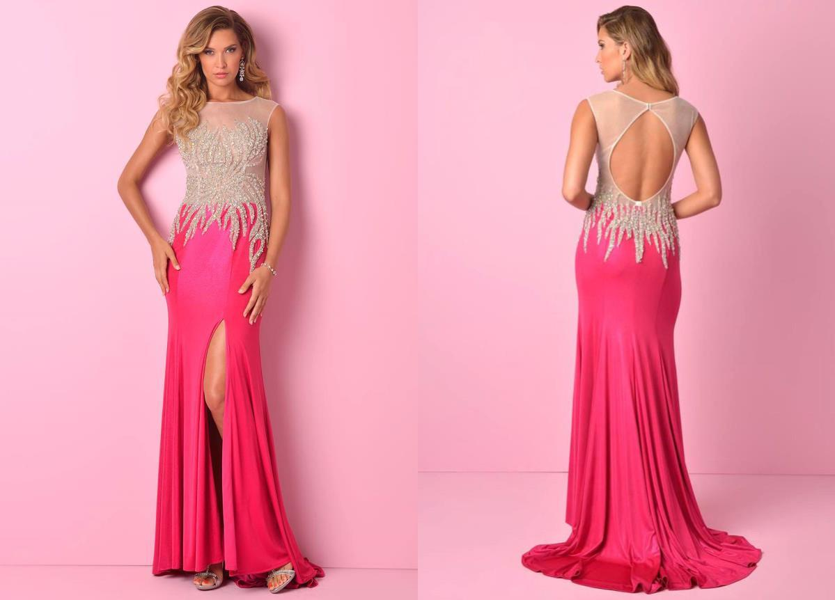 2015 Neon Pink Sexy A Line Scoop Landa Splash Prom Dresses ...