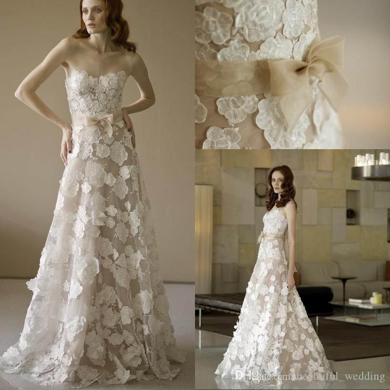 Discount romantic lace vintage wedding dresses sweetheart for No lace wedding dress