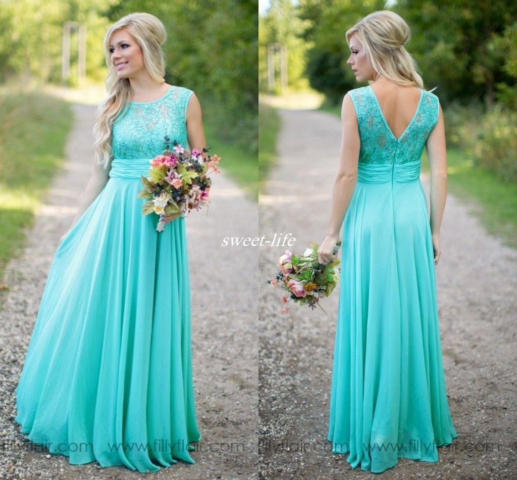 Mint 2016 Bridesmaid Dresses Sheer Jewel Neck Floor Length