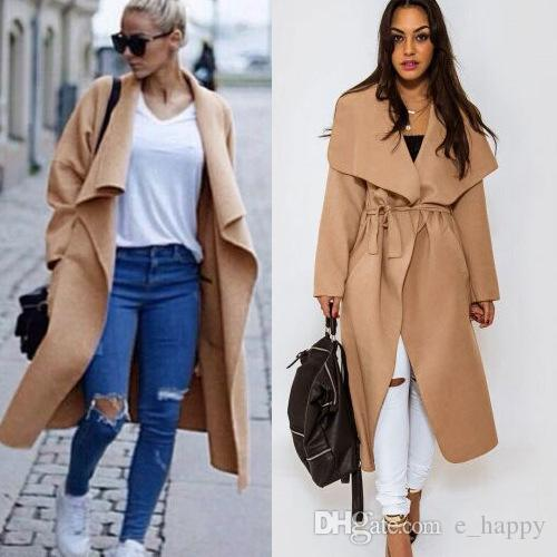 Womens Wool Blend Wrap Trench Coat Ladies Textured Wool Blanket ...