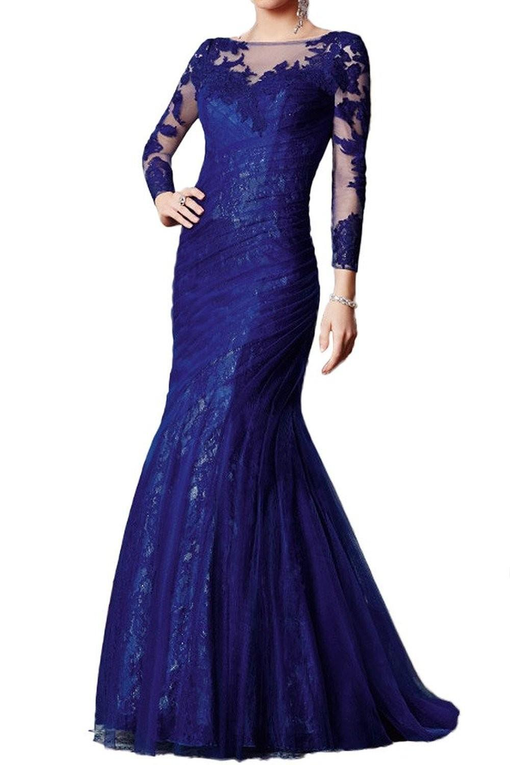 2016 Latest Dress Design Dark Blue Mother Groom Evening Gowns Lace ...
