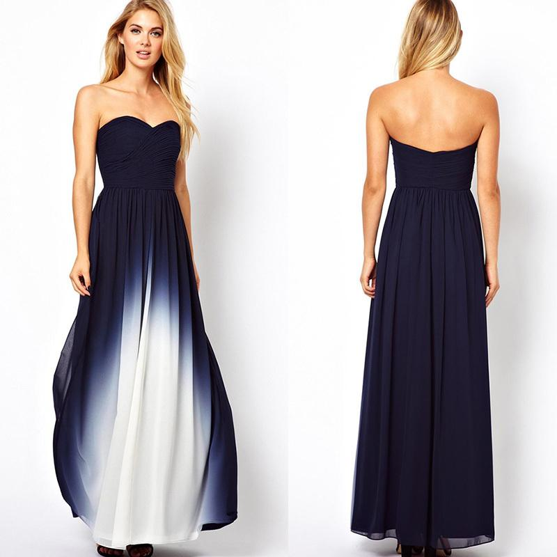 Popular Navy Blue And White Sweetheart A Line Ombre Chiffon ...