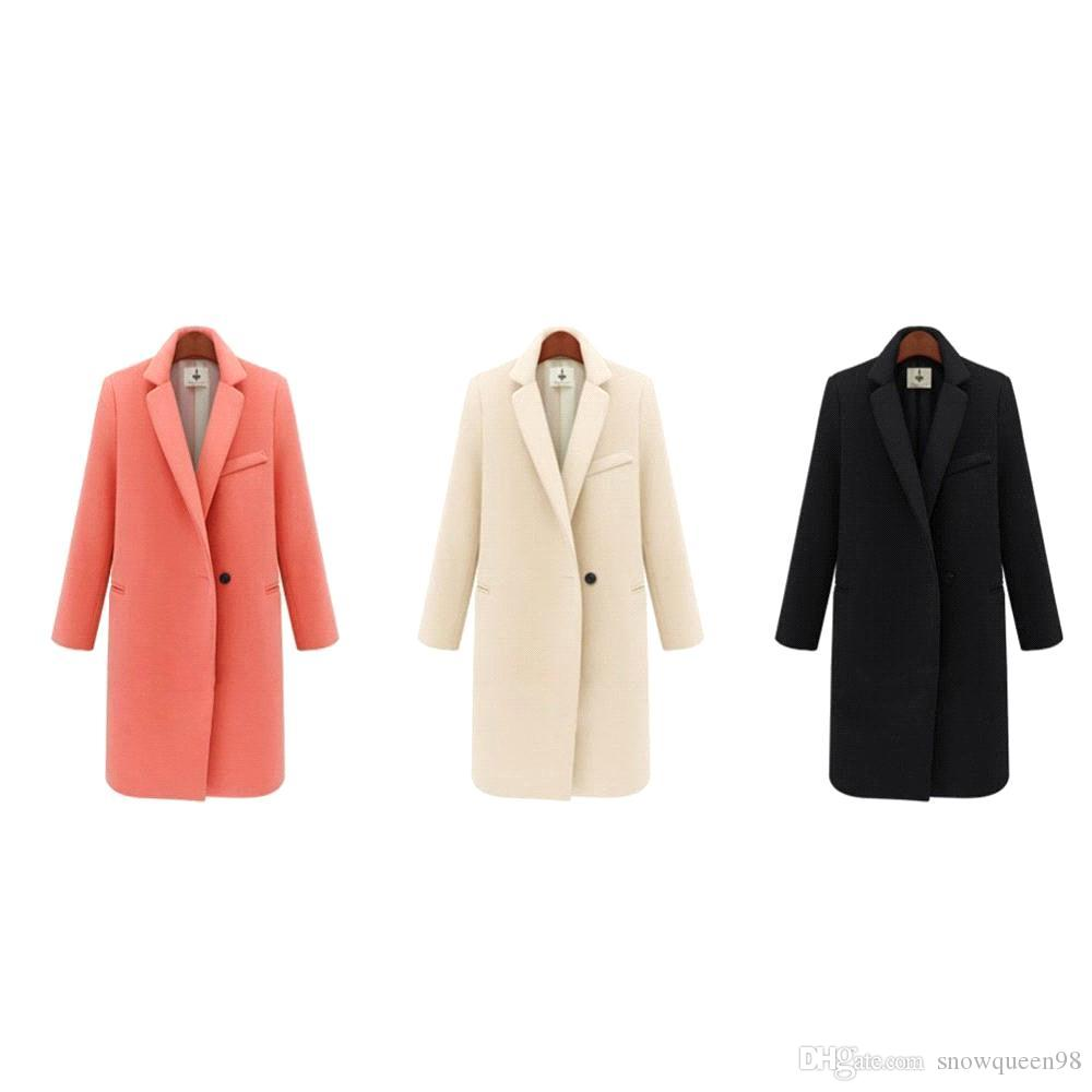 New Autumn Winter Fashion Overcoat Pink/Black/Beige Single Button Turn