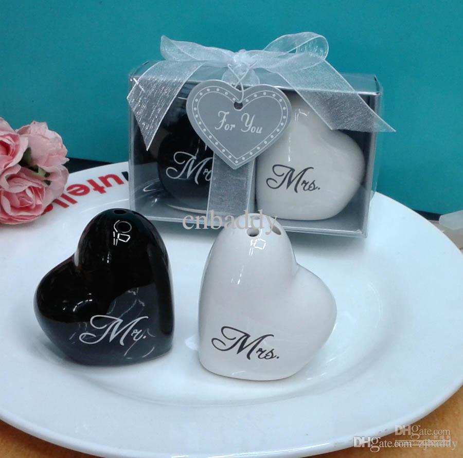 Wedding Favors And Souvenirs Heart Shaped Mr Mrs Ceramic Salt