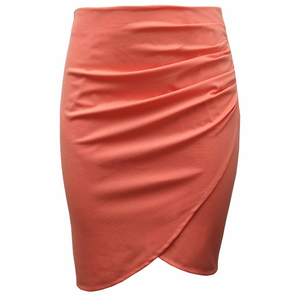 Summer Style High Waist Women Skirt Stretch Draped Ruched Sexy ...