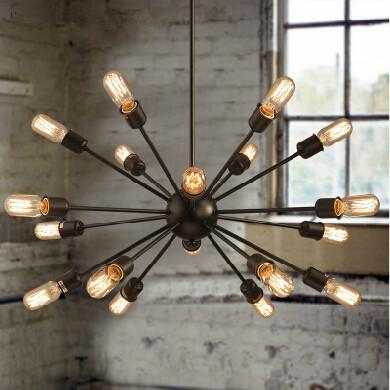 vintage european style village multi satellite chandelier retro industrial dining room light fixture lamp 18 heads 3 table lamps lighting i