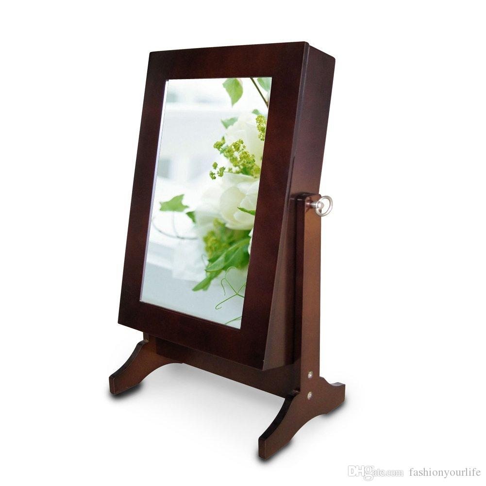 Wooden Mirror Stand Designs : Mirrored jewelry cabinet box armoire