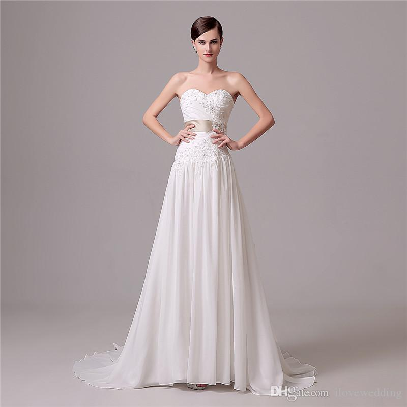 Discount white ivory a line wedding gowns sweetheart lace for Cheap wedding dresses uk under 100