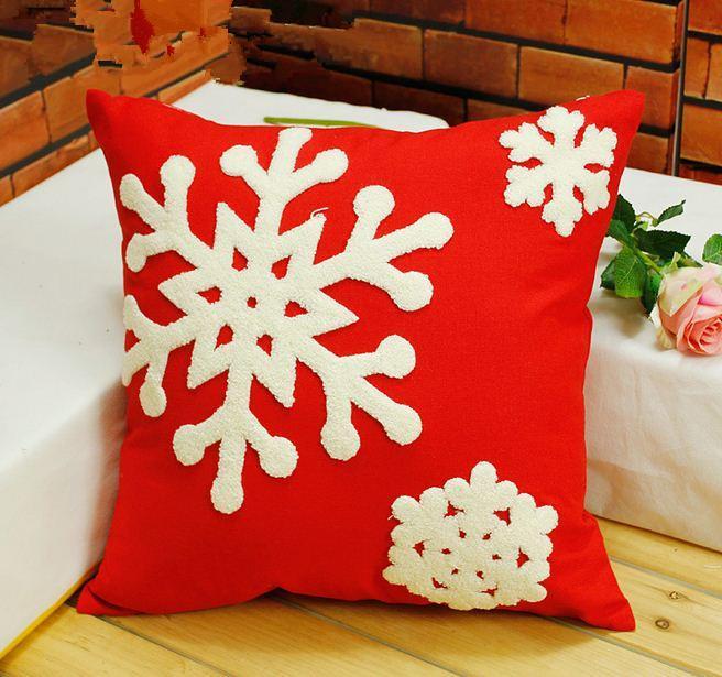 Embroidered Christmas Pillow Cushion Covers Decorative Throw Pillows White Snowflake Home Decor ...