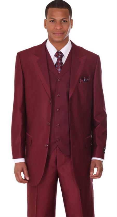 Three Buttons Groom Tuxedos Peak Lapel Best Man Suit Burgundy/Wine ...