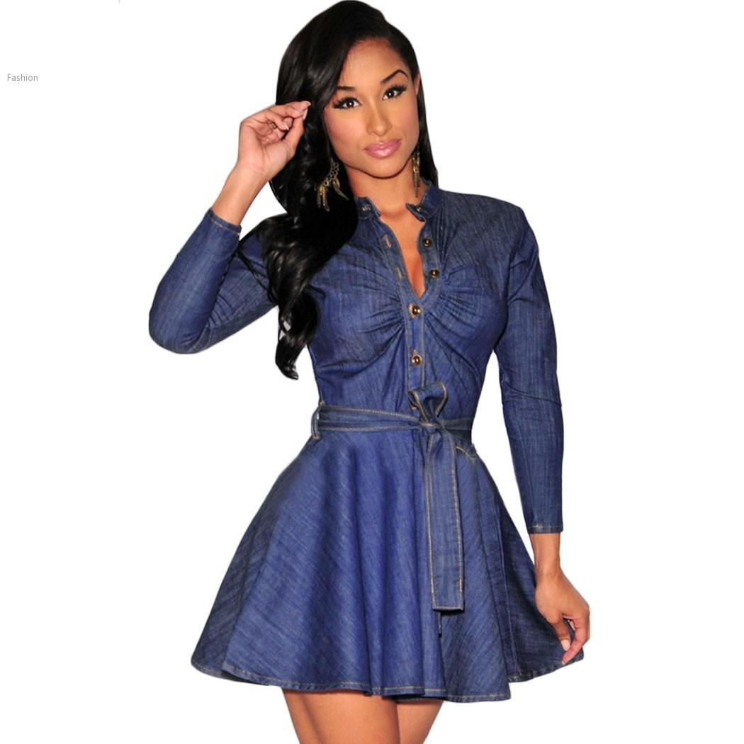 2015 Fashion Women Slim Fit Denim Jean Dress Plus Size Bowknot ...