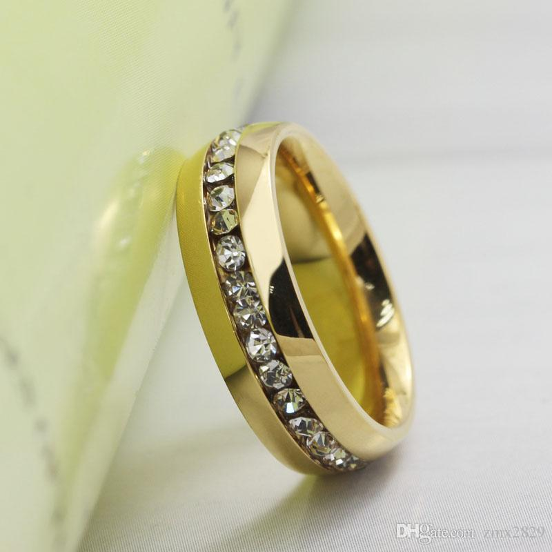 2016 new cz rings wedding rings men woman crystal rings jewelry inlaid jewelry of gold ring - Wedding Rings Men