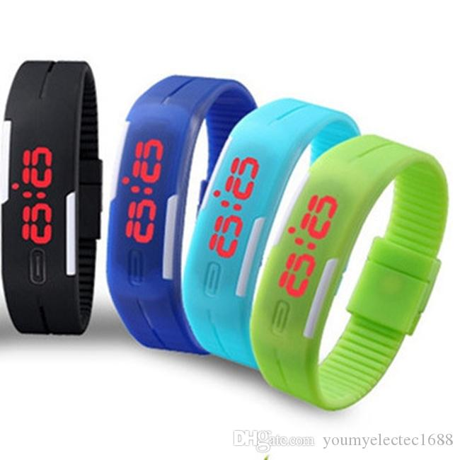 2016 fashion sport led watches candy color silicone rubber touch screen digital electronic watches non - Color Watches