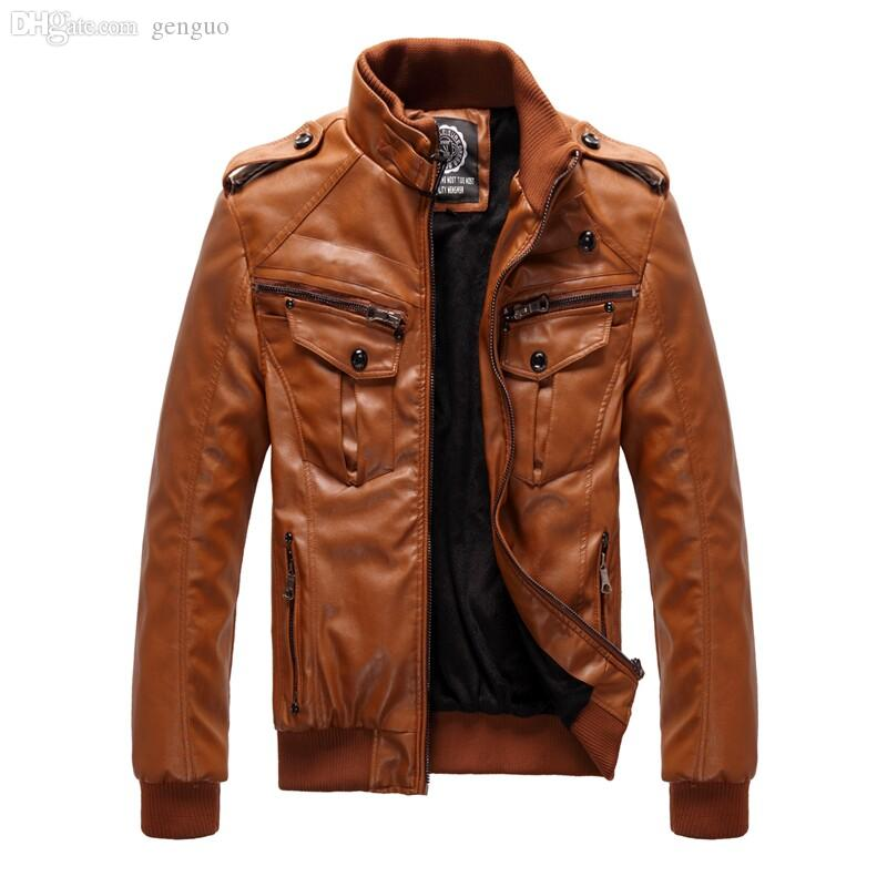 Best Fall Men'S Casual Leather Brown Jacket Men Winter Leather ...