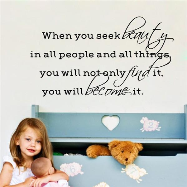 when you seek beauty wall decals quotes baby girl adesivo para parede infantil home decor wall