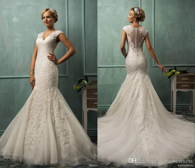 2015 amelia sposa v neck cap sleeve lace tulle mermaid wedding gowns appliqued fit flare sheer backless plus size bridal party dresses cheap designer
