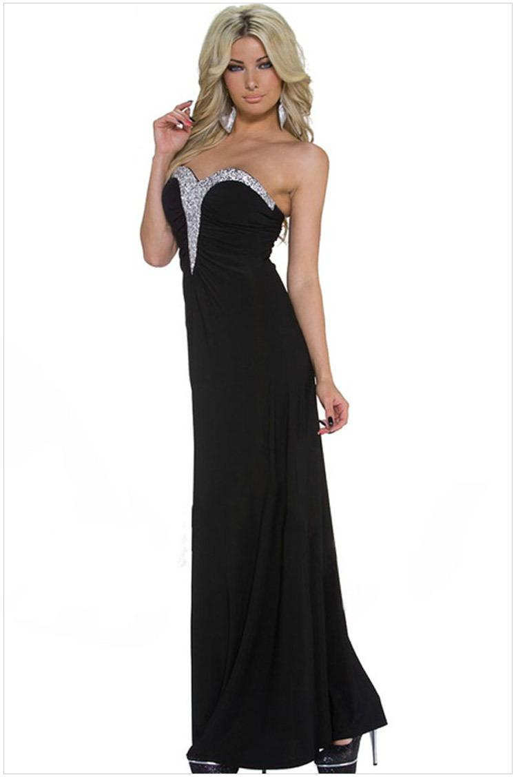 Cheap dress to order - 2015 New Sexy Women Casual Embellished Sweetheart Black Maxi Party Dress N60260 Fashion Ladies Cute Dress Vestidos High Quality Dress Order China Dress High
