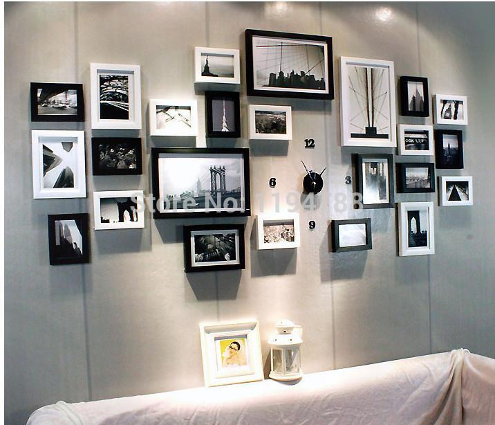 24 pcs set modern art love family wall decoration wood picture photo frame set wall home decor photo frame set big photo frame
